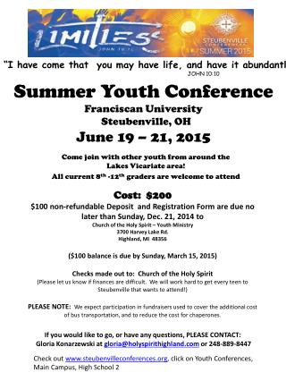 Summer Youth Conference Franciscan University   Steubenville, OH June 19 – 21, 2015