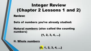 Integer Review (Chapter 2 Lessons 1 and 2)
