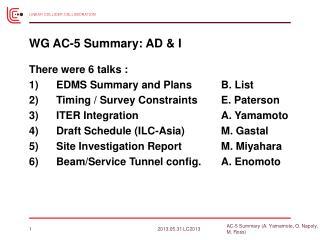 WG AC-5 Summary: AD & I