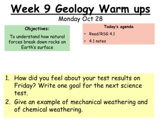 Week 9 Geology Warm ups Monday Oct 28