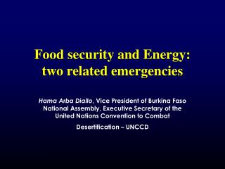 Food security and Energy: two related emergencies