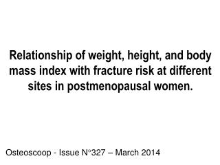 Osteoscoop - Issue N°327 – March 2014