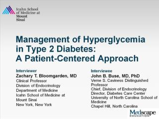 Management of Hyperglycemia in Type 2 Diabetes:  A Patient-Centered Approach
