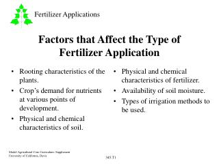 Factors that Affect the Type of Fertilizer Application