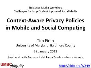 Tim Finin University of Maryland, Baltimore County 29 January 2013