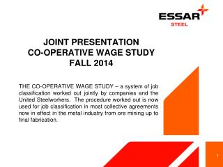 JOINT PRESENTATION CO-OPERATIVE WAGE STUDY FALL 2014