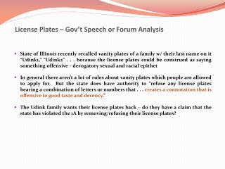 License Plates � Gov�t Speech or Forum Analysis