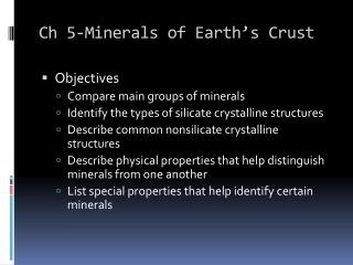 Ch 5-Minerals of Earth's Crust