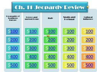 Ch. 11 Jeopardy  Review