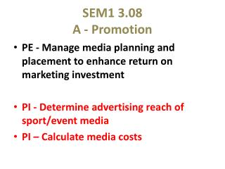 SEM1 3.08 A - Promotion