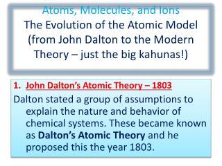 John Dalton's Atomic Theory – 1803