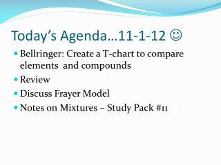Today's Agenda…11-1-12  