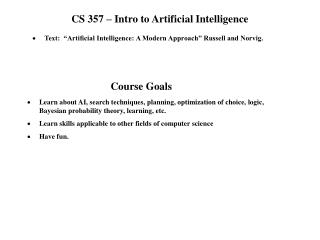 CS 357 – Intro to Artificial Intelligence