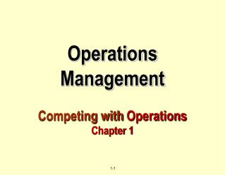 Operations  Management Competing with  Operations Chapter 1