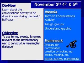 Classroom Conversations  Revo lutio nary  War