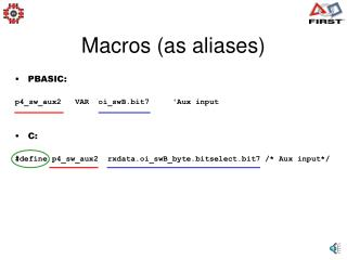 Macros (as aliases)
