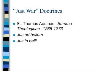 """Just War"" Doctrines"