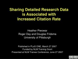 Sharing Detailed Research Data  is Associated with  Increased Citation Rate