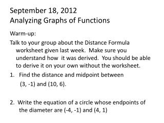 September  18,  2012 Analyzing Graphs of Functions