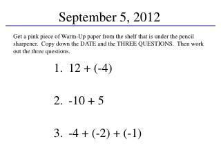 September  5, 2012