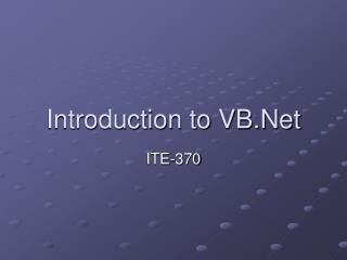 Introduction to VB.Net