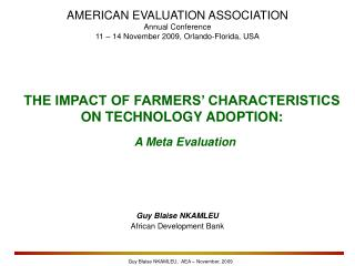 THE IMPACT OF FARMERS' CHARACTERISTICS ON TECHNOLOGY ADOPTION: A Meta Evaluation