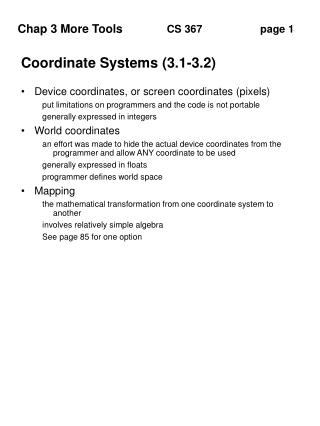 Coordinate Systems (3.1-3.2)