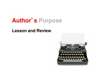 Author � s Purpose