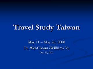 Travel Study Taiwan