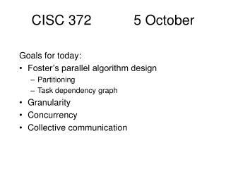 CISC 372           5 October