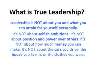 What is True Leadership?