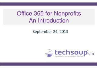 Office 365 for Nonprofits  An Introduction
