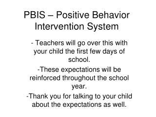 PBIS – Positive Behavior Intervention System