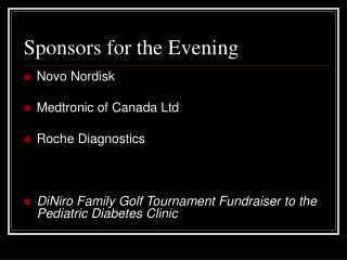 Sponsors for the Evening