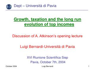 Dept � Universit� di Pavia ________________________________________