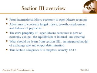 Section III overview