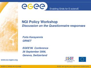 NGI Policy Workshop Discussion on the Questionnaire responses