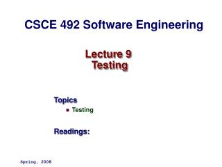 Lecture 9  Testing