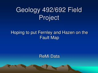 Geology 492/692 Field Project