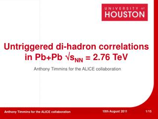 Untriggered di-hadron correlations in Pb+Pb  s NN  = 2.76 TeV