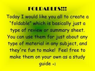 FOLDABLES!!!