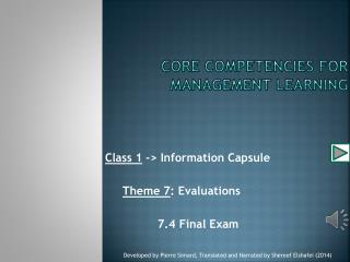 Core competencies for management learning