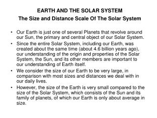 The Size and Distance Scale Of The Solar System