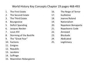 World History Key Concepts Chapter 19 pages 468-493