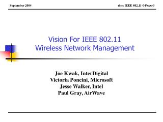 Vision For IEEE 802.11  Wireless Network Management