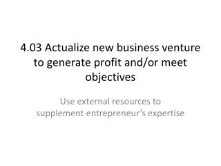 4.03 Actualize  new business venture to generate profit and/or meet  objectives