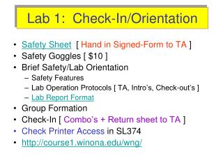 Lab 1:  Check-In/Orientation