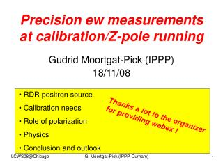 Precision ew measurements at calibration/Z-pole running