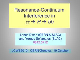 Resonance-Continuum Interference in  gg   H    bb