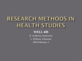 Research Methods in Health Studies